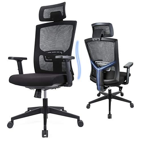 Komene Office Chair Ergonomic Mesh Chair - Home Office Desk Chair with Adjustable Headrest Lumbar Support and Armrest, Computer Ergonomic Chair with Thick Seat Cushion, Silent Wheels, Metal Base