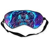 Máscara de seda para dormir con diseño de león de estrella con correa ajustable para la cabeza bloque de la siesta de la luz de la
