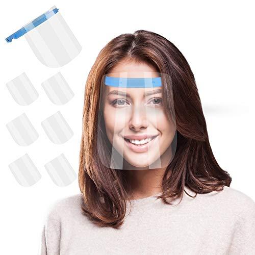 Volles Gesicht Gesichtsschutzschild Sicherheit Gesichtsschutz mit Visier Schutzhelm Gesichtsschutzschirm für Outdoor Arbeit Küche, 180° Einstellbar (1 Rahmen + 6 Stücke)