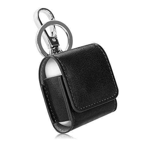 Fintie Case for AirPods, Premium PU Leather Magnet Closure Protective Portable Cover Skin with Metal Clasp and Keychain for AirPods 1 and AirPods 2 Charging Case, not fits Airpods Pro, Black