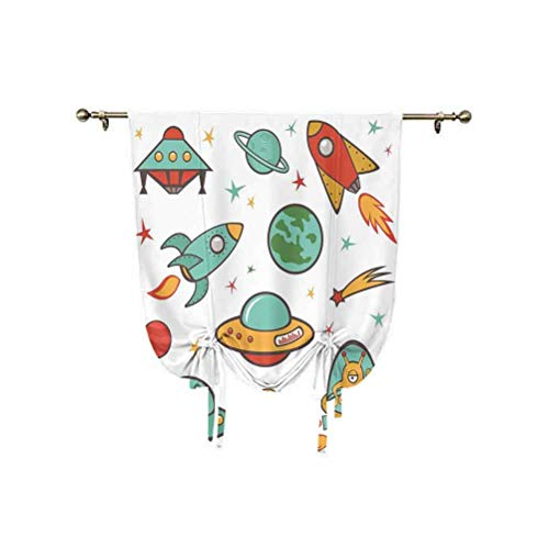 Kids Room Tie Up Window Shade,Outer Space Theme Rocket Space Ship UFO Stars Planets Alien Earth Saturn Galaxy Print Thermal Insulated Blackout Window Curtain,24x47 Inch,for Home Windows