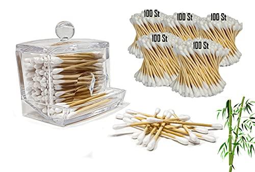 5five » 500 Wattestäbchen Bambus, Ohrenstäbchen im Set mit Wattestäbchen Behälter Acryl/Spender | Ohrenstäbchen Aufbewahrung