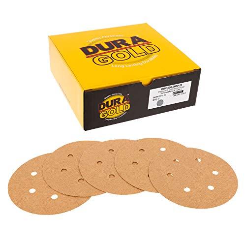 Dura-Gold - Discos de lija para lijadoras DA, 6 pulgadas, grano 60, gancho dorado y lazo, 6 agujeros, caja de 25 discos de lija para automoción y carpintería