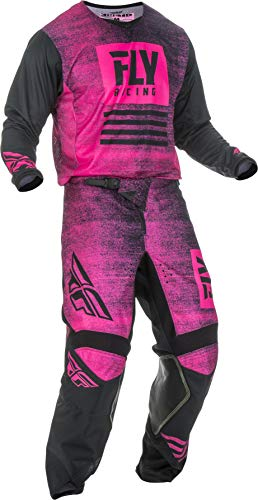 Fly Racing - 2019 Kinetic Noiz (Mens NEON Pink & Black Large/34W) MX Riding Gear Combo Set, Motocross Off-Road Dirt Bike Light Weight Durable Jersey & Mesh Comfort Liner Stretch Pre Shaped Knees Pant