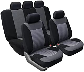 FH Group FB062GRAY115 Universal Car SUV Truck Van Seat Cover Premium Fabric with 3D Air Mesh Airbag Compatible Gray