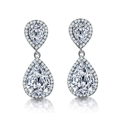 Teardrop Dangle Earrings for Wedding - Women's Sterling Silver Cubic Zirconia Crystal Rhinestone CZ Drop Earrings Bridal Jewelry for Bride Bridesmaids Mother of Bride Party Prom Earrings