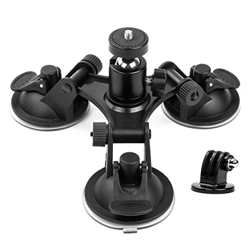 Geila Triple taza – Soporte de succión para cámara – Soporte de triple ventosa con cabeza roscada 1/4 360 grados trípode bola cabeza (ventosa de viaje)