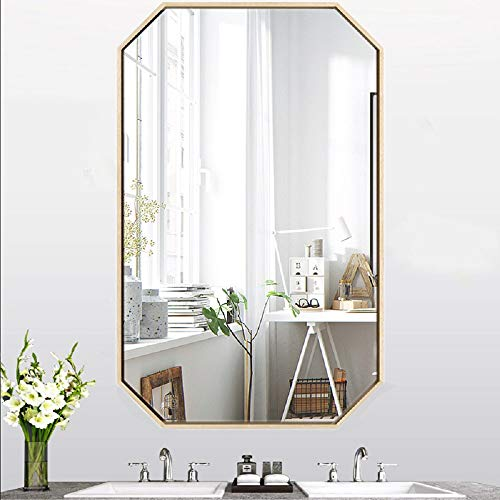 Gold Octagon Mirror Wall Mounted 27.5''x19.6'',Large Gold Mirrors for Wall Decor Ornate Mirror,Big Metal Frame Wall Mirror Antique Mirror,Modern Vanity Mirror for Living Room Bathroom Bedroom