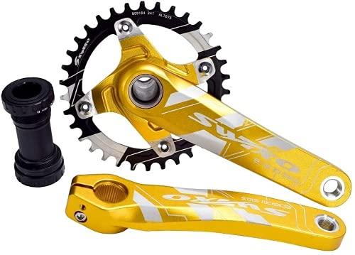 Juego de manivelas para bicicleta de montaña de 170 mm con 104 BCD 32/34/36/38T, para bicicleta MTB, tornillos de aleación de aluminio (dorado, 104BCD 32T)