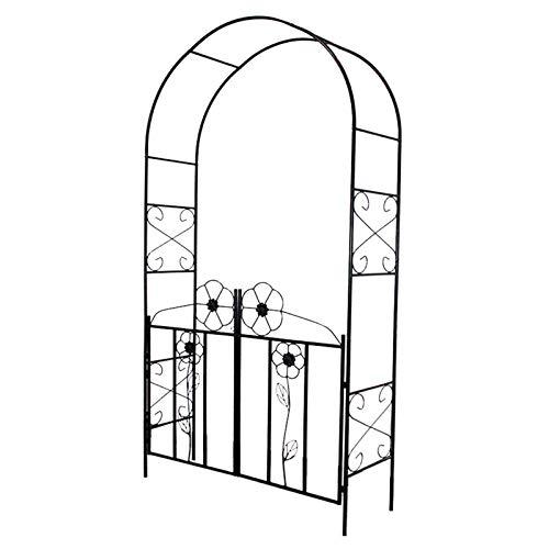 Rose Arch, 230 X 114 X 37 Cm, Outdoor Garden Arch, Outdoor Door Trim,Decorative Metal Garden Arbor, Matte Powder Coating, with Door, Balck