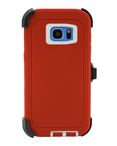 """WallSkiN Turtle Series Belt Clip Cases for Galaxy S7 Edge (5.5""""), 3-Layer Full Body Life-Time Protective Cover & Holster & Kickstand & Shock, Drop, Dust Proof - Red/White"""