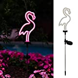 X-PREK 2 Pack Solar Garden Lights Outdoor Decorative, Waterproof Neon Flamingo Pathway Stake Light for Yard Lawn Walkway Patio Decor(2 Pack)