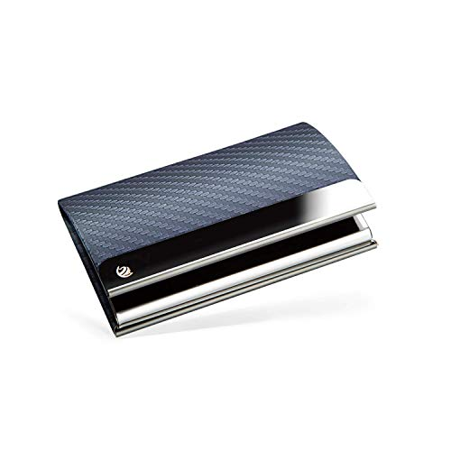 BRODI® Premium Visitenkarten-Etuis für eine besonders schonende Aufbewahrung - Hochwertiges Kartenetui aus Edelstahl mit Magnetverschluss | inkl. Geschenkbox | Visitenkartenhülle Leder (Blau)