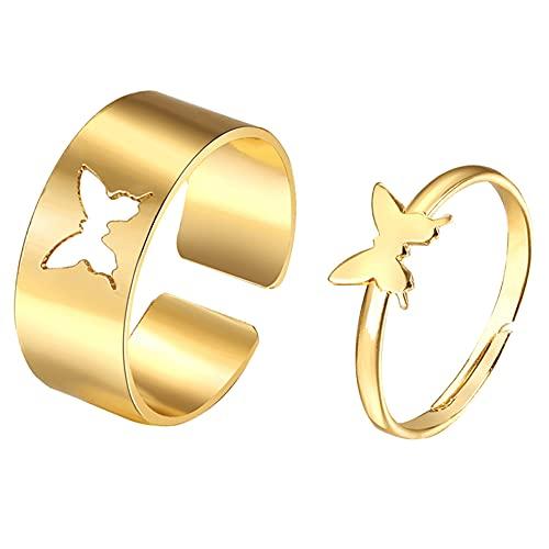 Herbests 2 Piezas Anillos de Parejas, Anillos para Parejas Amantes Diseño de Mariposa Mujer y Hombre Anillos Parejas Anillos de Regalo para Aniversario, Día de San Valentín