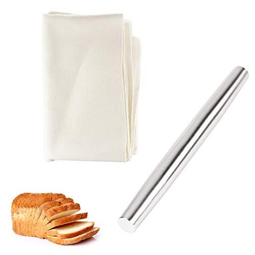 Backzubehör Für Die Küche,25 Cm Nudelholz Aus Edelstahl In Lebensmittelqualität Und 44x77 Cm Großes Brottuch Aus Natürlichem Leinen,Geeignet Für Brot, Gebäck Und Nudeln