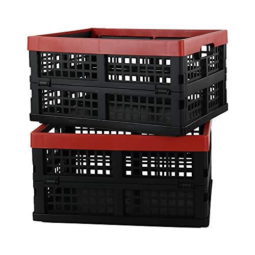 Tstorage Cesto Cajas de Almacenamiento Plegables de Plástico, Color Negro y Rojo, 2 Paquet