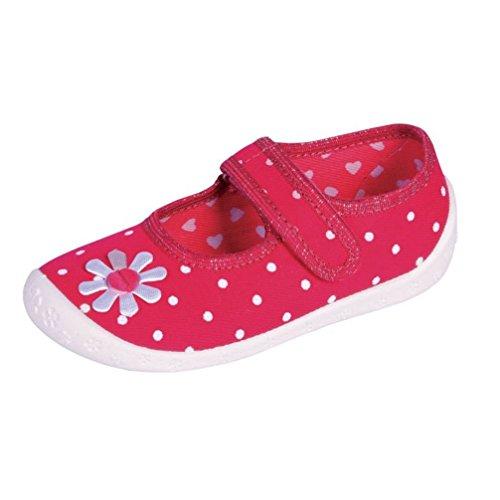 Celebration Kinderhausschuhe Kinder Hausschuhe für Mädchen Ballerinas mit Klettverschluss Blume pink D6 Gr. 25