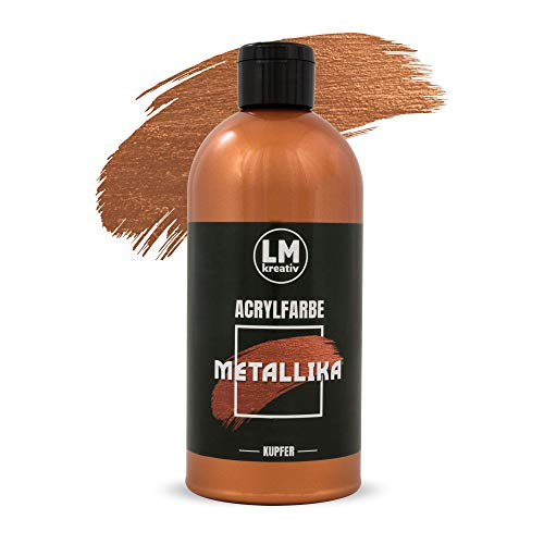 LM Metallika 500 ml Kupfer - Acrylfarbe für Metallic Metall-Glanz, Effekt-Farbe Bastel-Farbe, Deko-Farbe metallisch glänzend