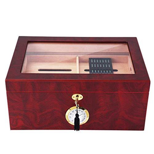 JIAJBG Caja de Cigarro Marrón Portátil Cedro de Madera de Cedro de Madera Caja de Alenamiento de Cigarros con Humidor Humidificador Llaves Accesorios de Cigarros Ligero