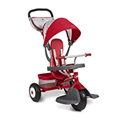 Grows with your child - 4 ways to ride: Infant trike, steering trike, learn-to-ride trike, and classic trike Removable 3-point harness, high back seat and Infant safety snack tray Air tires for a smooth ride anywhere Removable footrest and parent pou...