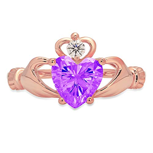 1.49ct Heart Cut Irish Celtic Claddagh Solitaire Natural Purple Amethyst Gem Stone Ideal VVS1 Engagement Promise Statement Anniversary Bridal Wedding ring 14k Pink Rose Gold, Size 8