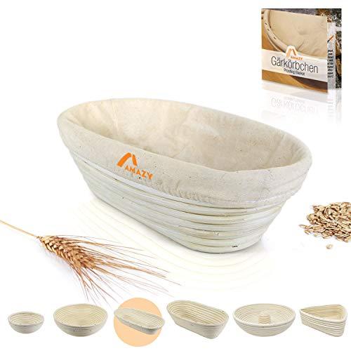 Amazy Cesta de fermentación, Incluyendo un folleto con Recetas y Consejos de Uso - Cesta de Pan de fermentación en Palma Natural (Redonda | Ø 28cm) - Incluye un Tela de Lino