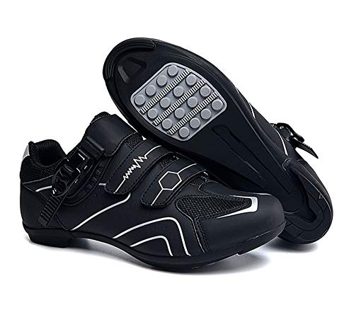 tangjiu Zapatillas de Ciclismo Antideslizantes, Zapatillas de Bicicleta de Carretera y Montaña de Fibra de Carbono Transpirables, Zapatillas Deportivas Asistidas con Tiras Reflectantes (Gris,43)