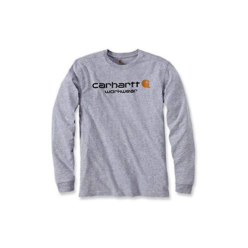 Carhartt Carhartt Mens Core Logo Long-Sleeve Work Utility T-Shirt, Heather Grey, XL