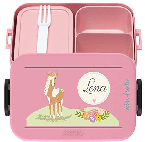 wolga-kreativ Brotdose Pferd Pony Mepal Obsteinsatz für Mädchen Lunchbox Bento Box personalisiert Brotbüchse Brotdosen mit Namen Kindergarten Schule
