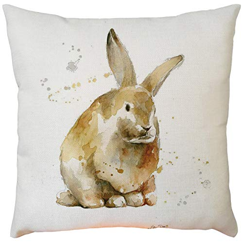Moent Funda de almohada de Pascua, cuadrada, de algodón, lino, sofá, cama, cafetería, coche, decoración del hogar, conejo, funda de cojín, funda de almohada, regalo de festival, 45,7 x 45,7 cm (D-1PC)