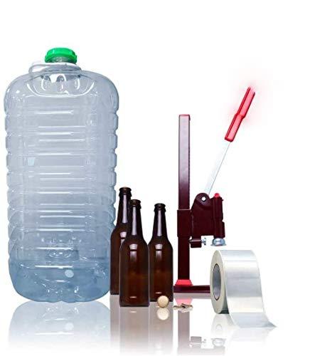 TAPAS & ENVASES RIOJA Kit para elaboracion de Cerveza artesana Pack fabricacion Cerveza Artesanal fabrica tu Propia Cerveza casera Incluye chapadora Botellas chapas Regalo de Etiquetas