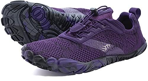 JOOMRA Women Barefoot Running Tennis Shoes Size 8 Minimal for Ladies Runner Purple Daily Gym Fitness Athletic Hiking Trekking Walking Toes Trail Sneakers Workout Five Fingers Footwear 38