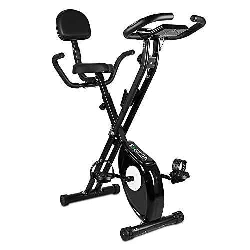 bigzzia Bicicleta estática de fitness con sensores de pulso/resistencia/pantalla LCD/respaldo, plegable, hasta 100 kg, para casa, deportistas y personas mayores, color negro