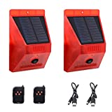 Solar Strobe Light with Remote Controller with Motion Detector Solar Alarm Light 129db Sound Security Siren Light IP65 Waterproof Protected for Your Home,Villa,Baren,Farm,Yard,2 Pack.