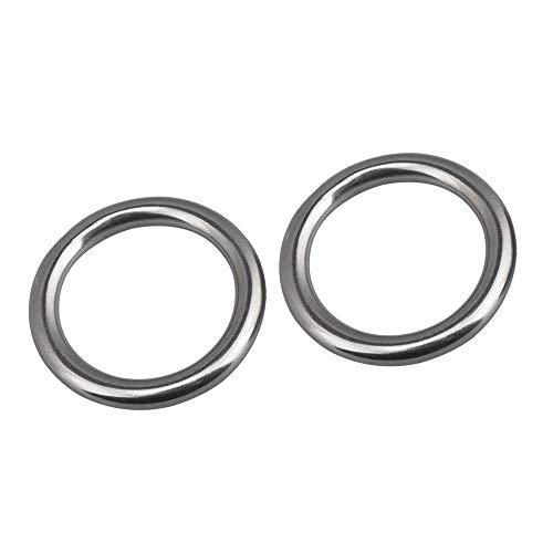 Yibuy 2 ganchos redondos de acero inoxidable resistentes para hamaca de 1,77 pulgadas de diámetro