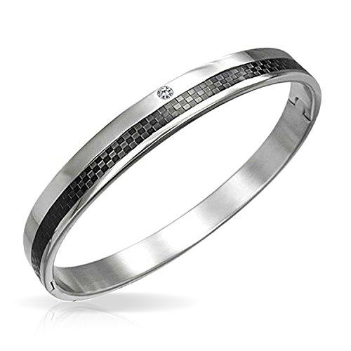 Bling Jewelry Schwarzer Kohlefaser CZ Akzent Armreif Armband Für Herren Silber Edelstahl