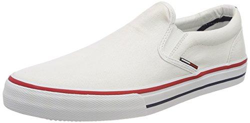 Hilfiger Denim Herren Tommy Jeans Textile Slip ON Sneaker, Weiß (White 100), 44 EU