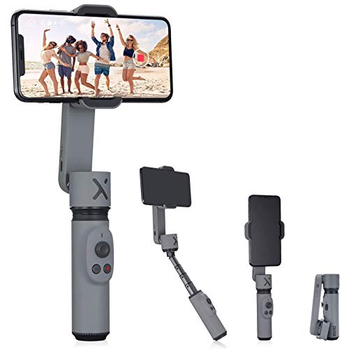 Zhiyun Smooth X 2-Axis Smartphone Gimbal Stabilizer for iPhone 11 Pro Xs Max Xr X 8 Plus 7 SE Android Samsung Galaxy Extendable Foldable Cell Phone Vlogging Kit for YouTube TIK Tok Video SmoothX Grey