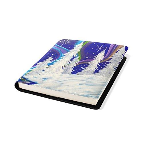 COOSUN Aurora Borealis Winter Sox Book Cover Stretchable Livre, La Plupart des Fits Relié jusqu'à 9 manuels x 11. adhésif Gratuit, PU Leather School Book Protector 9 x 11 Pouces Multicolore