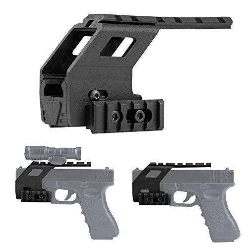 Gexgune Taktische Pistole Glock Rail Base System für Glock 17 18 19 Airsoft Gun Glock Zubehör Rail Mount Hunting Scope (2 Farben optional)