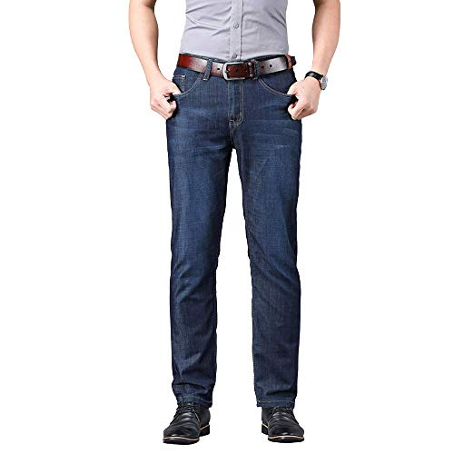 Men's Jeans Summer Thin Stretch Solid Color Simple Fashion Large Size Slim 31 Blue Black