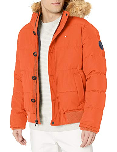 Tommy Hilfiger Men's Arctic Cloth Full Length Quilted Snorkel Jacket (Standard and Big & Tall), Orange, Large
