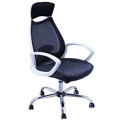 Duhome Bürostuhl Chefsessel Schwarz Netzstoff Kunstleder Wippfunktion Ergonomisch Schreibtischstuhl mit integrierter Kopfstütze Drehstuhl Gaming Stuhl 394