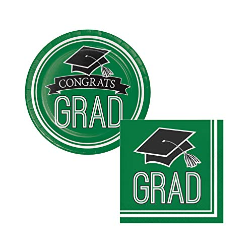 School Spirit Graduation Themed Party Supplies for 36 Guests - Bundle Includes Paper Dessert Plates and Napkins (Emerald Green)