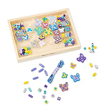 Melissa & Doug Created by Me! Butterfly Beads Wooden Bead Kit 120+ Beads for Jewelry-Making