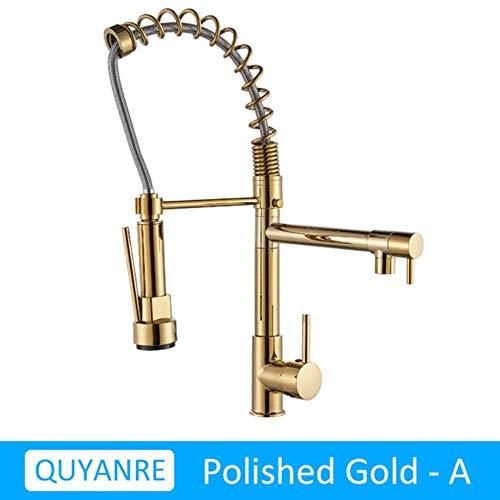 5151BuyWorld waterkraan, nikkel, geborsteld, keukenkraan, zwart, intrekbare uitloop, dubbele functie van waterdoorstroming, eenvoudige draaibare greep, gootsteenarmatuur Gold Quanjinse