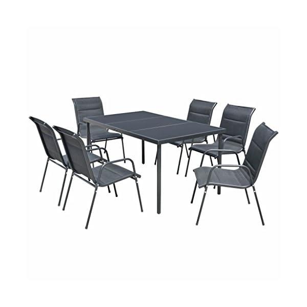 WT Trade Essgruppe Gartenmöbel Set 7 teilig | Sitzgarnitur mit 6 Stapelstühlen und Tisch | schwarz | wetterfest Drinnen…