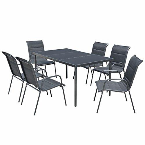 tiauant Gartenmöbelset Gartenmöbel Set Essgruppe 7-teilig schwarz Set aus Edelstahl Maße Stuhl: 51 x 66 x 88 cm (Breite x Tiefe x Höhe)