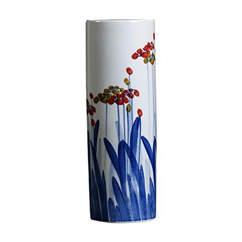 Vase Céramique Vase Classique Fleur en céramique for Vivre Déco Art Accueil Ménage Chambre Chambre Bureau Table avec Base Blanche 15,5 x 46 cm