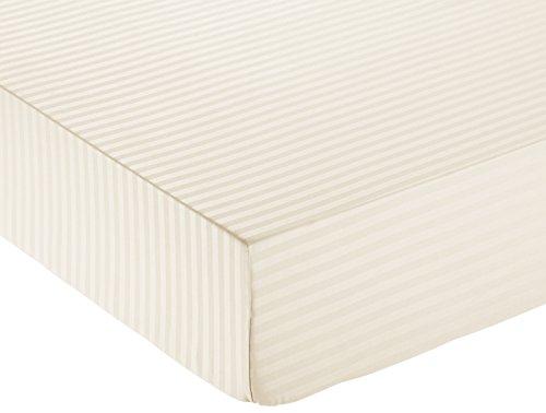 Amazon Basics - Lenzuolo con angoli deluxe in microfibra, a righe, Matrimoniale, 160 x 200 cm - Beige